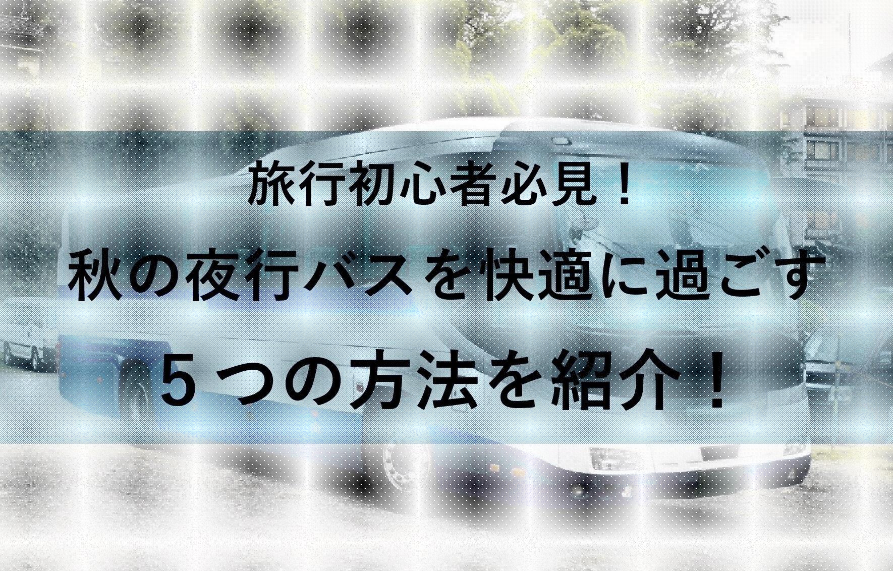 秋の夜行バス(9月~11月)を快適に過ごす5つの方法!旅行初心者必見!